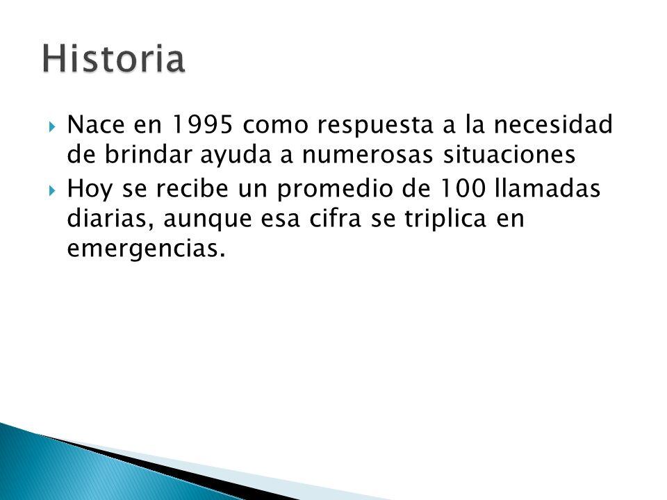 Nace en 1995 como respuesta a la necesidad de brindar ayuda a numerosas situaciones Hoy se recibe un promedio de 100 llamadas diarias, aunque esa cifr