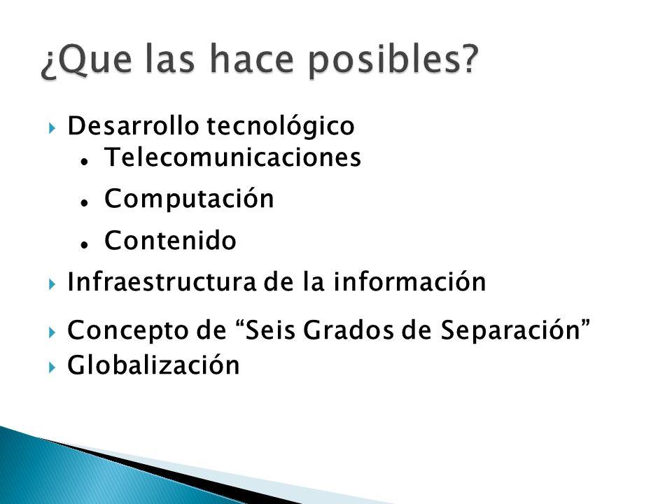 Desarrollo tecnológico Telecomunicaciones Computación Contenido Infraestructura de la información Concepto de Seis Grados de Separación Globalización