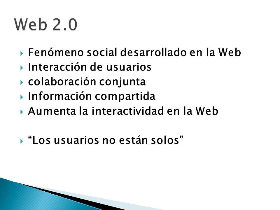 Fenómeno social desarrollado en la Web Interacción de usuarios colaboración conjunta Información compartida Aumenta la interactividad en la Web Los us