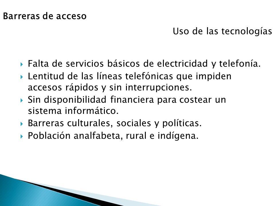 Barreras de acceso Falta de servicios básicos de electricidad y telefonía. Lentitud de las líneas telefónicas que impiden accesos rápidos y sin interr