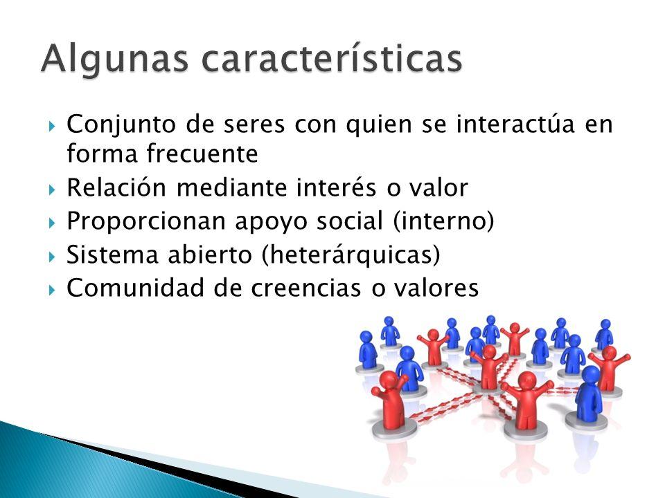 Conjunto de seres con quien se interactúa en forma frecuente Relación mediante interés o valor Proporcionan apoyo social (interno) Sistema abierto (he