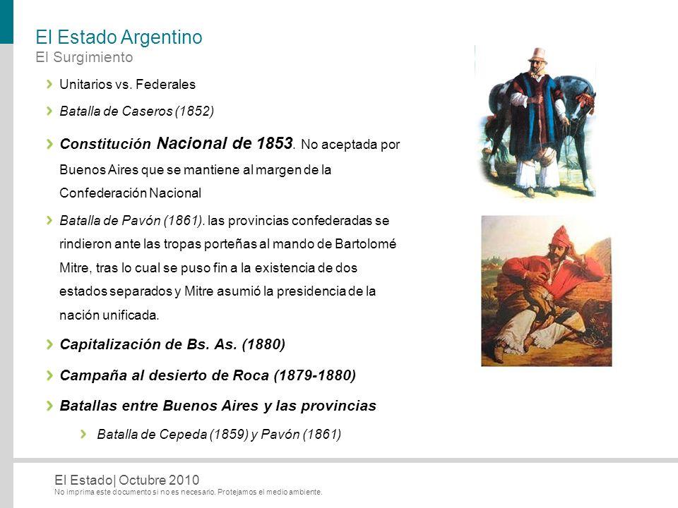No imprima este documento si no es necesario. Protejamos el medio ambiente. El Estado| Octubre 2010 El Estado Argentino El Surgimiento Unitarios vs. F