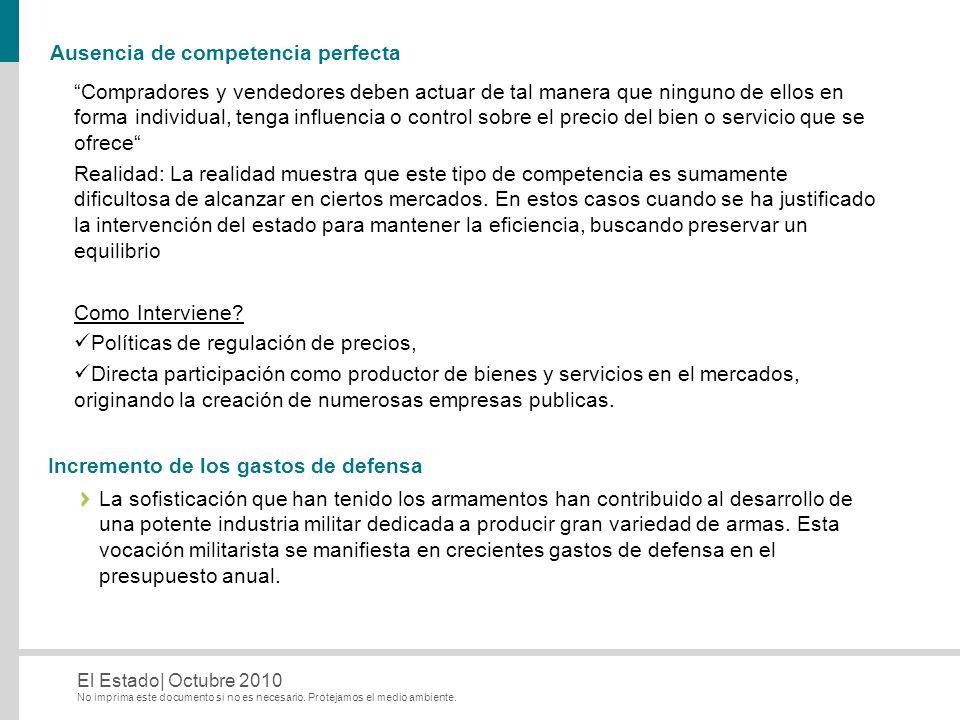 No imprima este documento si no es necesario. Protejamos el medio ambiente. El Estado| Octubre 2010 Ausencia de competencia perfecta Compradores y ven