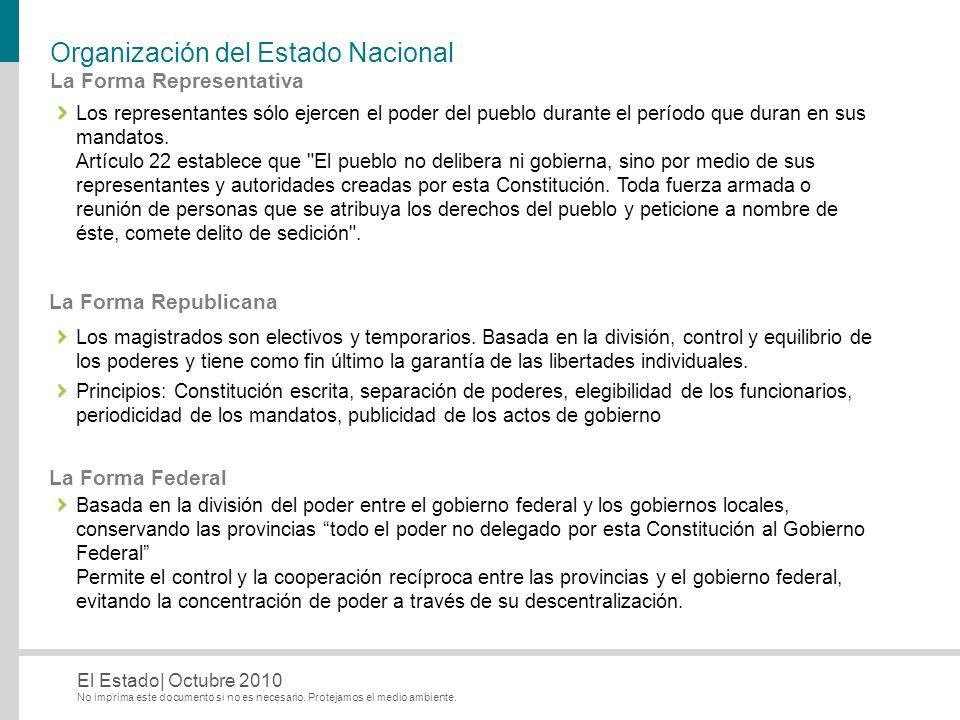No imprima este documento si no es necesario. Protejamos el medio ambiente. El Estado| Octubre 2010 Organización del Estado Nacional Los representante