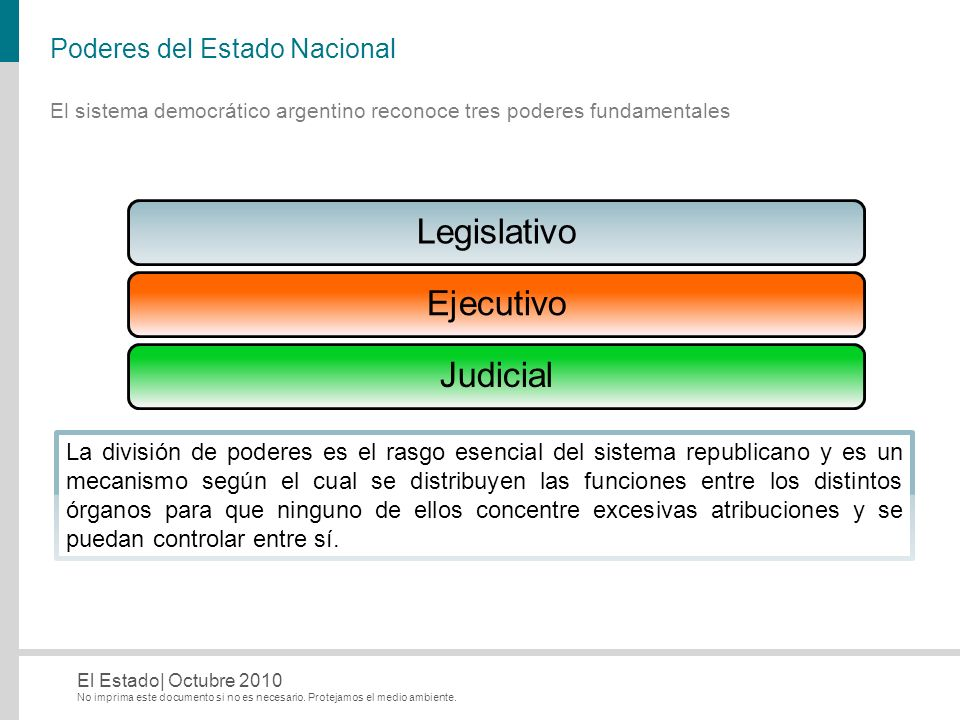 No imprima este documento si no es necesario. Protejamos el medio ambiente. El Estado| Octubre 2010 Poderes del Estado Nacional LegislativoEjecutivoJu