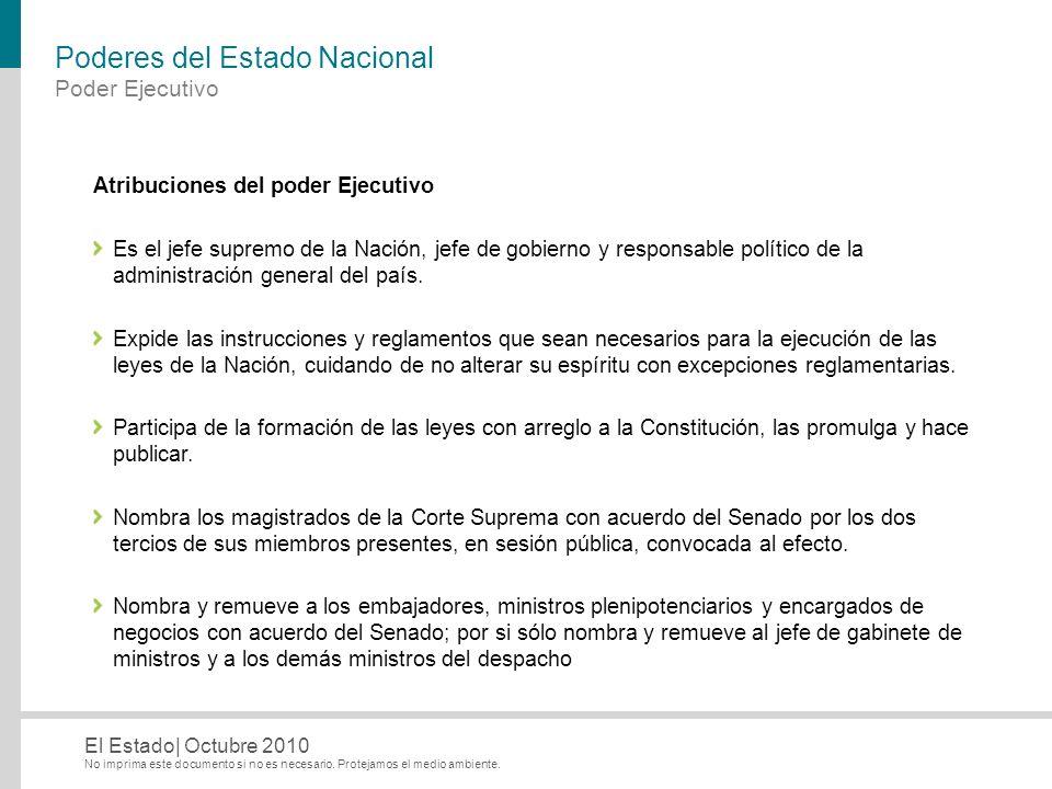 No imprima este documento si no es necesario. Protejamos el medio ambiente. El Estado| Octubre 2010 Poderes del Estado Nacional Atribuciones del poder