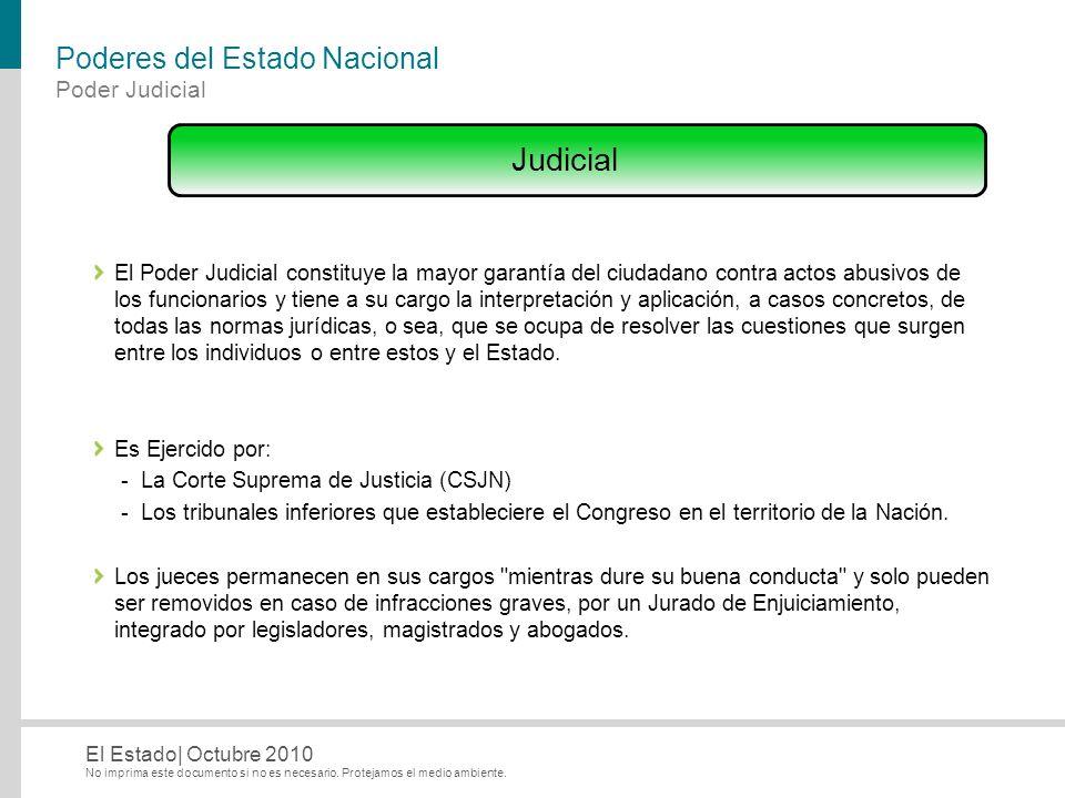 No imprima este documento si no es necesario. Protejamos el medio ambiente. El Estado| Octubre 2010 Poderes del Estado Nacional El Poder Judicial cons