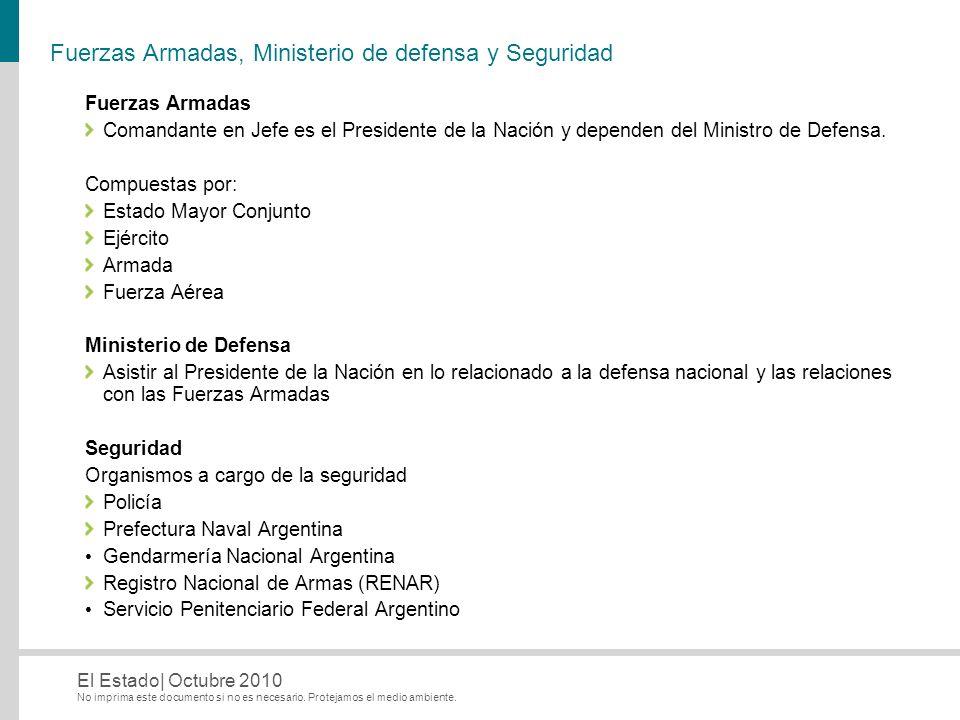 No imprima este documento si no es necesario. Protejamos el medio ambiente. El Estado| Octubre 2010 Fuerzas Armadas, Ministerio de defensa y Seguridad