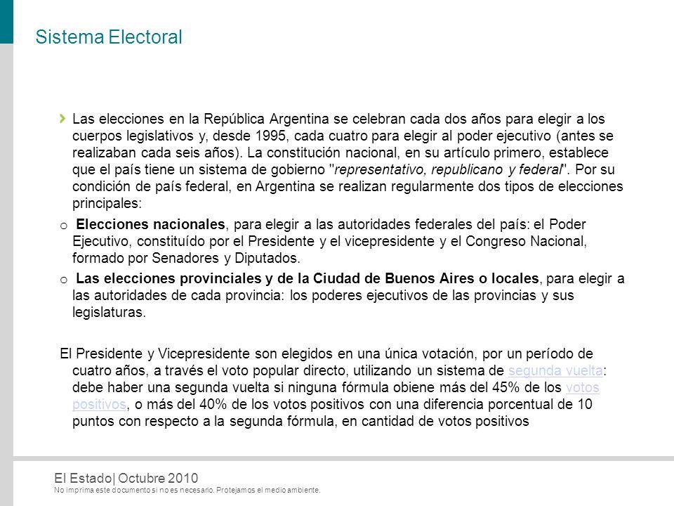 No imprima este documento si no es necesario. Protejamos el medio ambiente. El Estado| Octubre 2010 Sistema Electoral Las elecciones en la República A