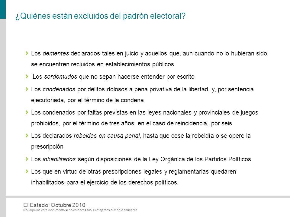 No imprima este documento si no es necesario. Protejamos el medio ambiente. El Estado| Octubre 2010 ¿Quiénes están excluidos del padrón electoral? Los