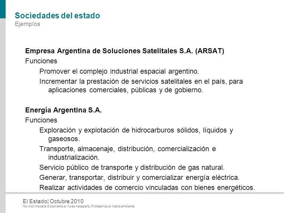 No imprima este documento si no es necesario. Protejamos el medio ambiente. El Estado| Octubre 2010 Sociedades del estado Ejemplos Empresa Argentina d