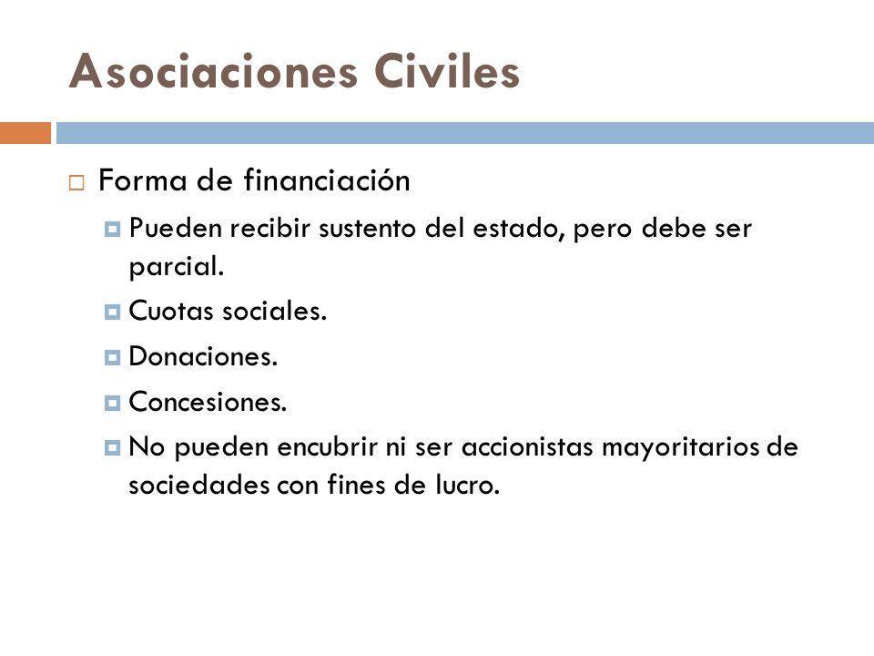 Asociaciones Civiles Forma de financiación Pueden recibir sustento del estado, pero debe ser parcial. Cuotas sociales. Donaciones. Concesiones. No pue