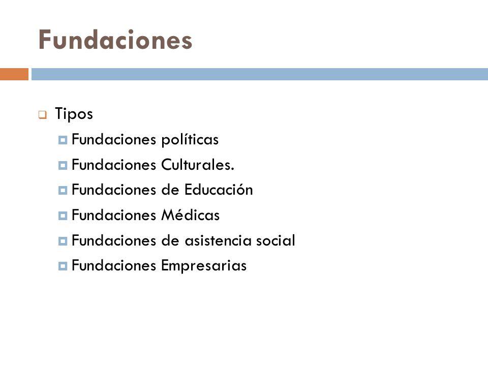 Tipos Fundaciones políticas Fundaciones Culturales. Fundaciones de Educación Fundaciones Médicas Fundaciones de asistencia social Fundaciones Empresar