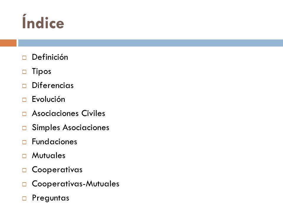 Índice Definición Tipos Diferencias Evolución Asociaciones Civiles Simples Asociaciones Fundaciones Mutuales Cooperativas Cooperativas-Mutuales Pregun