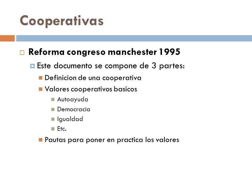 Reforma congreso manchester 1995 Este documento se compone de 3 partes: Definicion de una cooperativa Valores cooperativos basicos Autoayuda Democraci