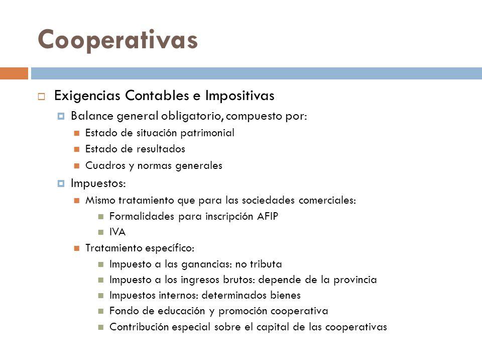 Cooperativas Exigencias Contables e Impositivas Balance general obligatorio, compuesto por: Estado de situación patrimonial Estado de resultados Cuadr