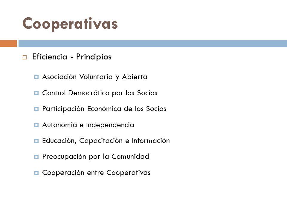 Cooperativas Eficiencia - Principios Asociación Voluntaria y Abierta Control Democrático por los Socios Participación Económica de los Socios Autonomí