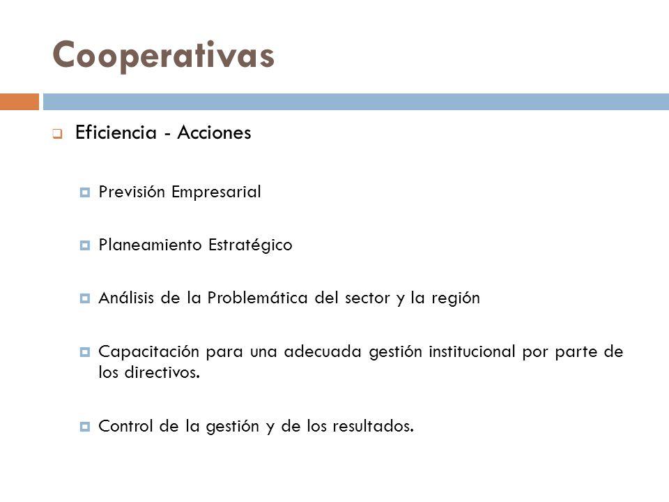 Cooperativas Eficiencia - Acciones Previsión Empresarial Planeamiento Estratégico Análisis de la Problemática del sector y la región Capacitación para