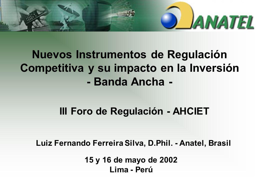 Los Modelos de Competencia e Inversión III Foro de Regulación - AHCIET Nuevos Instrumentos de Regulación Competitiva y su impacto en la Inversión - Banda Ancha - 15 y 16 de mayo de 2002 Lima - Perú Luiz Fernando Ferreira Silva, D.Phil.