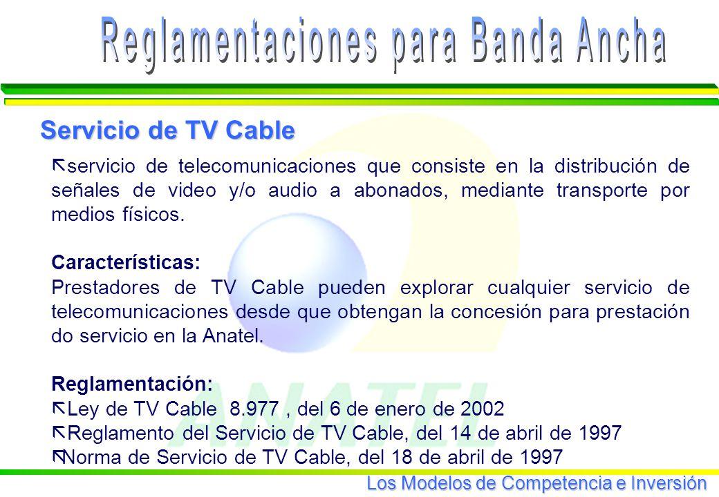 Los Modelos de Competencia e Inversión ã servicio de telecomunicaciones que consiste en la distribución de señales de video y/o audio a abonados, mediante transporte por medios físicos.