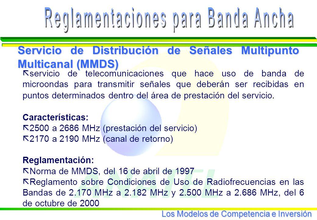 Los Modelos de Competencia e Inversión servicio de telecomunicaciones que hace uso de banda de microondas para transmitir señales que deberán ser recibidas en puntos determinados dentro del área de prestación del servicio.