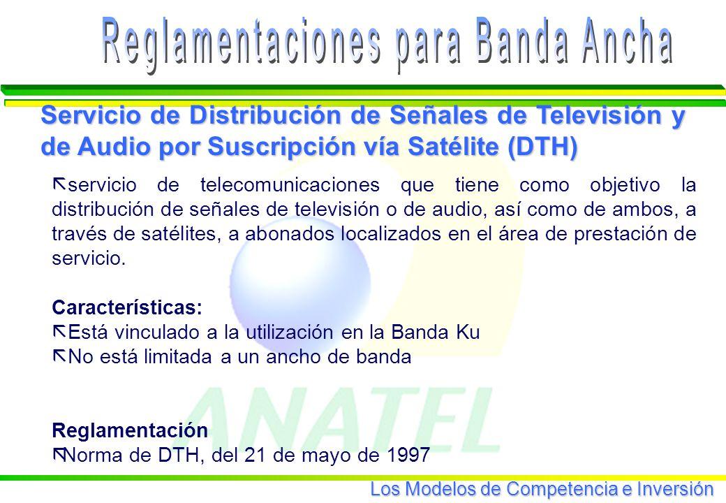 Los Modelos de Competencia e Inversión ã servicio de telecomunicaciones que tiene como objetivo la distribución de señales de televisión o de audio, así como de ambos, a través de satélites, a abonados localizados en el área de prestación de servicio.