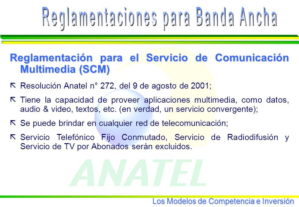 Los Modelos de Competencia e Inversión Reglamentación para el Servicio de Comunicación Multimedia (SCM) ãResolución Anatel n° 272, del 9 de agosto de 2001; ãTiene la capacidad de proveer aplicaciones multimedia, como datos, audio & video, textos, etc.