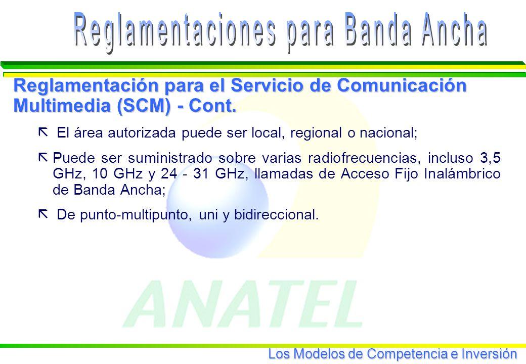 Los Modelos de Competencia e Inversión Reglamentación para el Servicio de Comunicación Multimedia (SCM) - Cont.