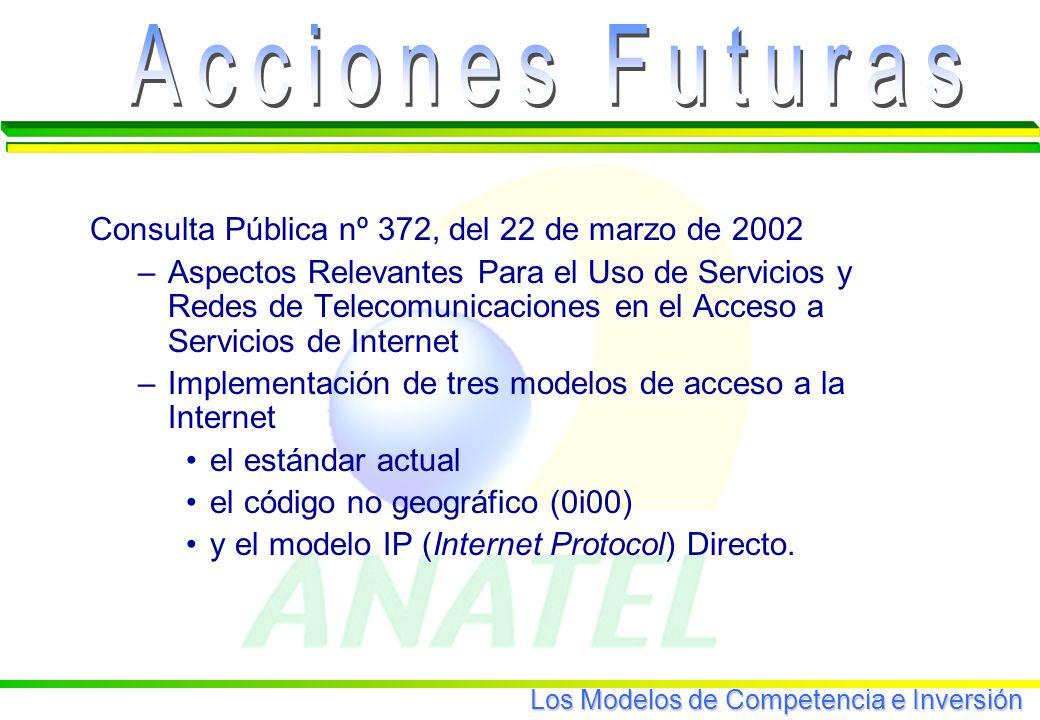 Los Modelos de Competencia e Inversión Consulta Pública nº 372, del 22 de marzo de 2002 –Aspectos Relevantes Para el Uso de Servicios y Redes de Telecomunicaciones en el Acceso a Servicios de Internet –Implementación de tres modelos de acceso a la Internet el estándar actual el código no geográfico (0i00) y el modelo IP (Internet Protocol) Directo.