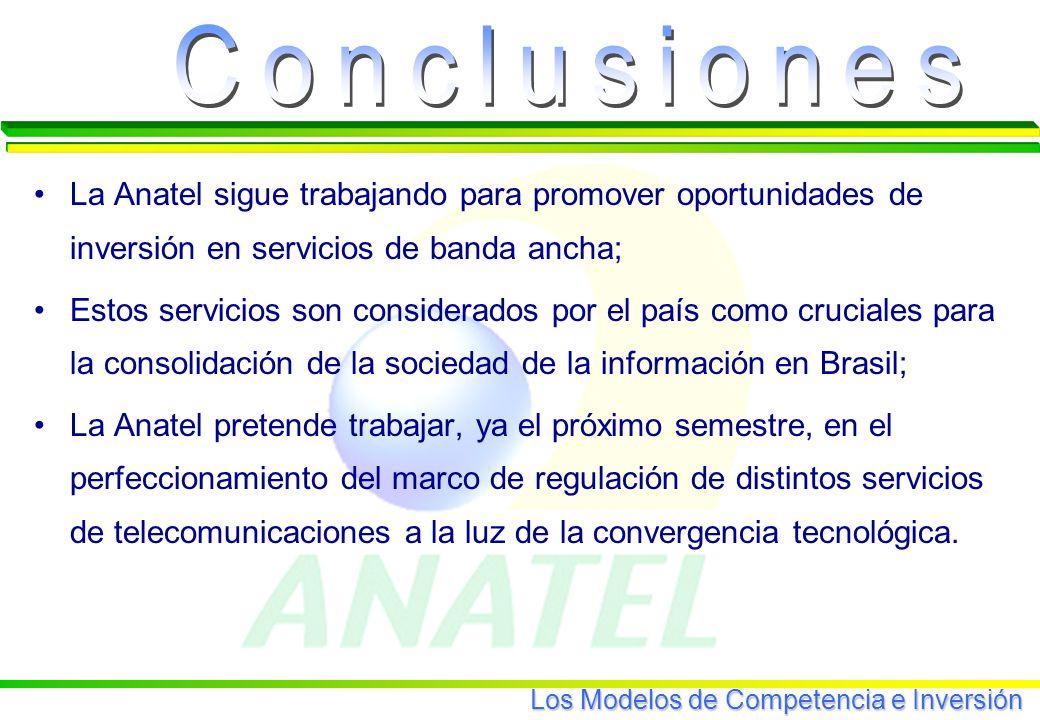 Los Modelos de Competencia e Inversión La Anatel sigue trabajando para promover oportunidades de inversión en servicios de banda ancha; Estos servicios son considerados por el país como cruciales para la consolidación de la sociedad de la información en Brasil; La Anatel pretende trabajar, ya el próximo semestre, en el perfeccionamiento del marco de regulación de distintos servicios de telecomunicaciones a la luz de la convergencia tecnológica.