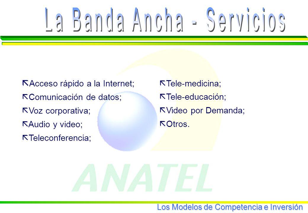 Los Modelos de Competencia e Inversión ã Tele-medicina; ã Tele-educación; ã Video por Demanda; ã Otros.