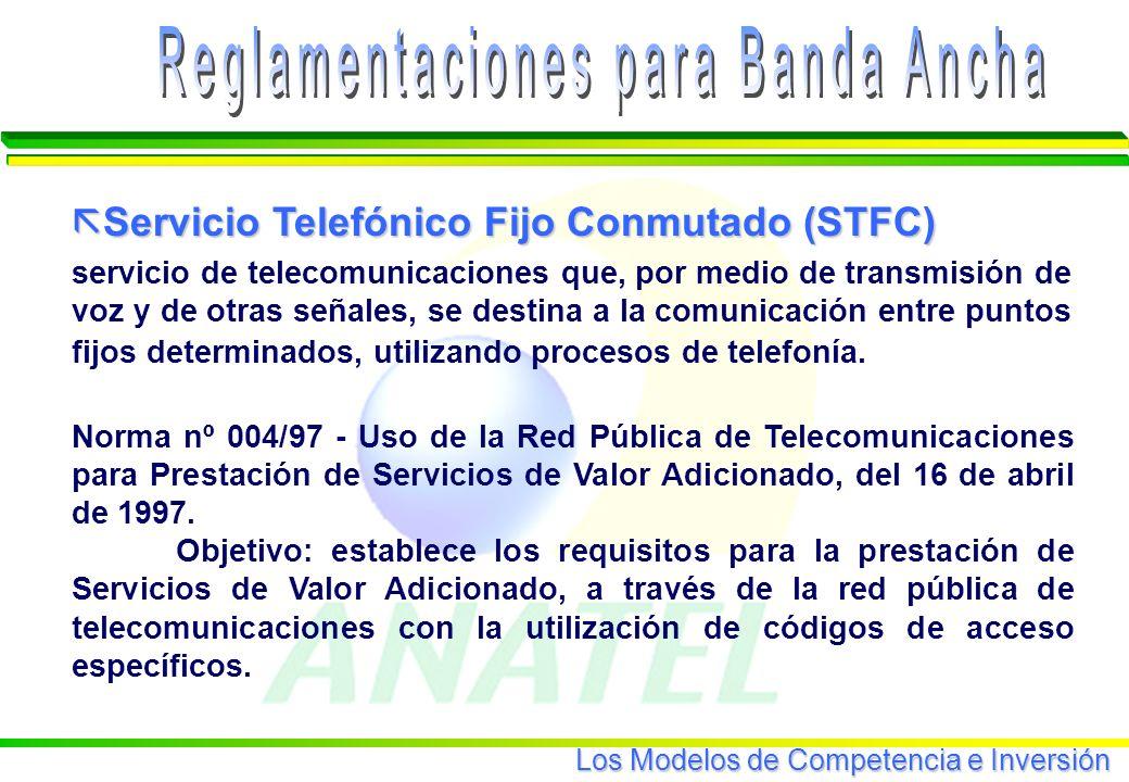 Los Modelos de Competencia e Inversión Precios de los Servicios de Banda Ancha SERVICIOVELOCIDAD MENSALIDAD (US$ 1,00) INSTALACIÓN (US$ 1,00) OBSERVACIONES TV por Cable GLOBOCABO MMDS MAIS TV 256 Kbps a 2,5 Mbps 128 a 512 Kbps Gastoconcablemódemyplacade red.