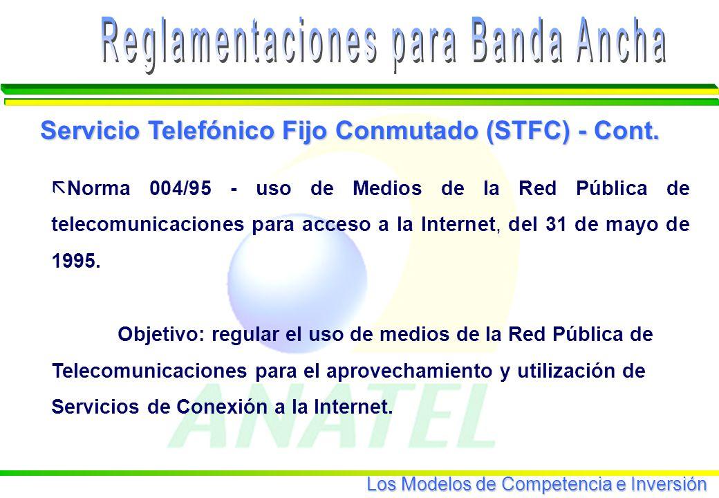 Los Modelos de Competencia e Inversión ã Norma 004/95 - uso de Medios de la Red Pública de telecomunicaciones para acceso a la Internet, del 31 de mayo de 1995.