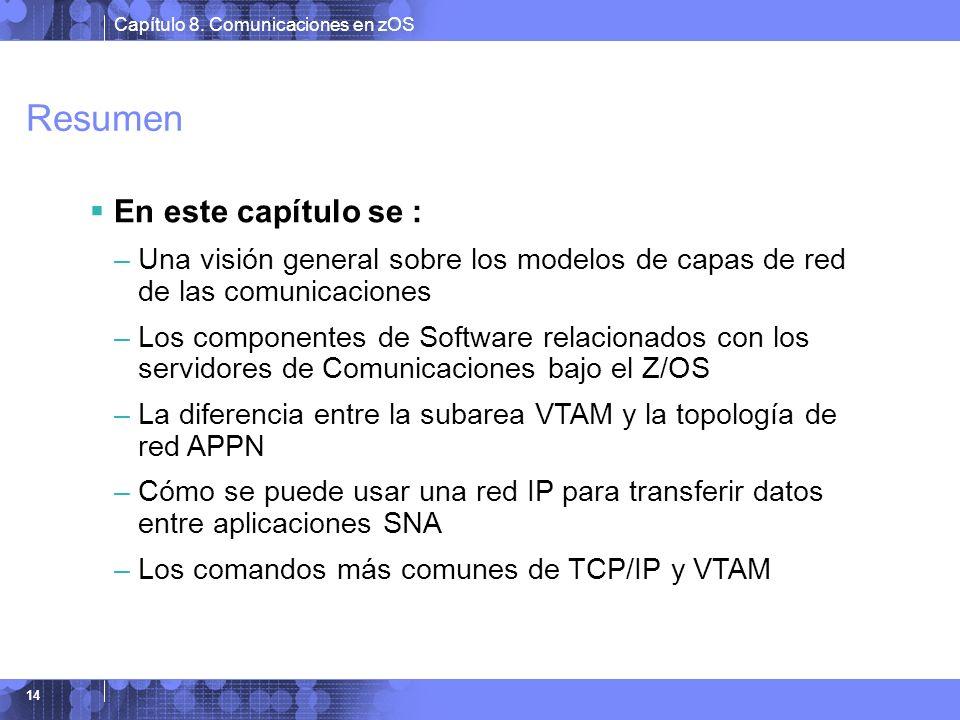 Capítulo 8. Comunicaciones en zOS 14 Resumen En este capítulo se : –Una visión general sobre los modelos de capas de red de las comunicaciones –Los co