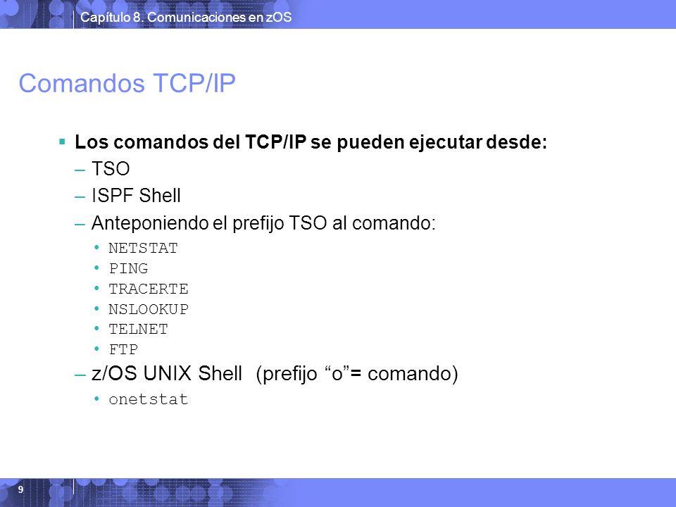 Capítulo 8. Comunicaciones en zOS 9 Comandos TCP/IP Los comandos del TCP/IP se pueden ejecutar desde: –TSO –ISPF Shell –Anteponiendo el prefijo TSO al