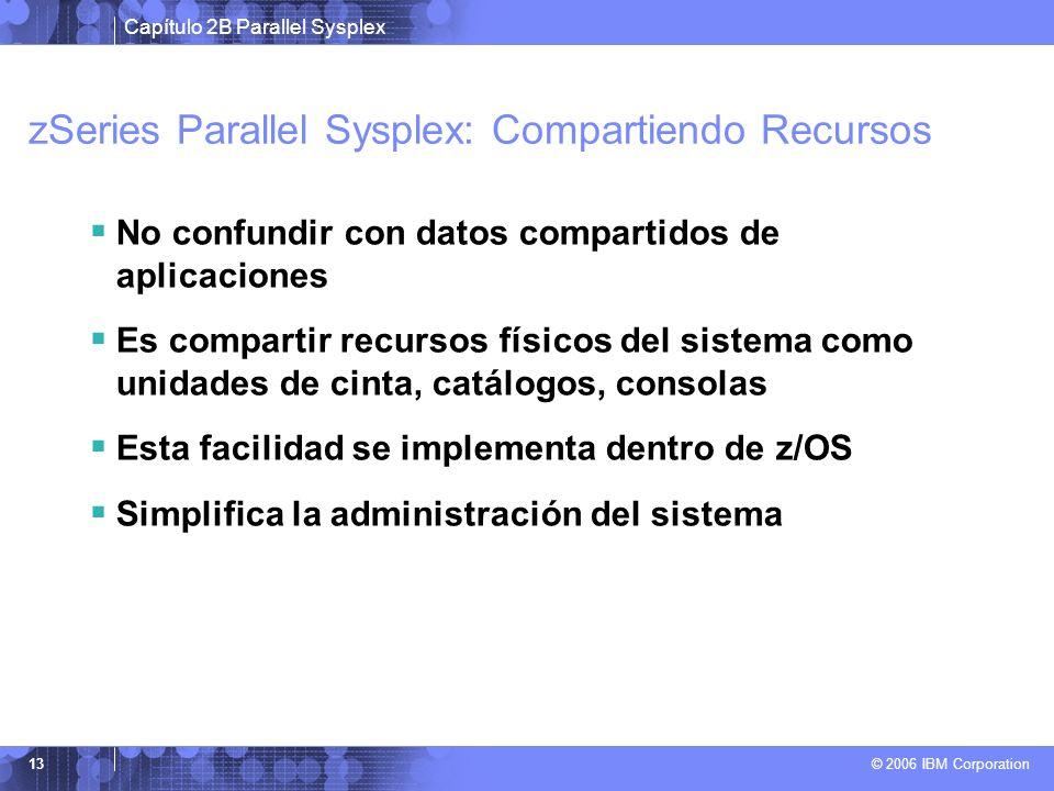 Capítulo 2B Parallel Sysplex © 2006 IBM Corporation 13 zSeries Parallel Sysplex: Compartiendo Recursos No confundir con datos compartidos de aplicaciones Es compartir recursos físicos del sistema como unidades de cinta, catálogos, consolas Esta facilidad se implementa dentro de z/OS Simplifica la administración del sistema