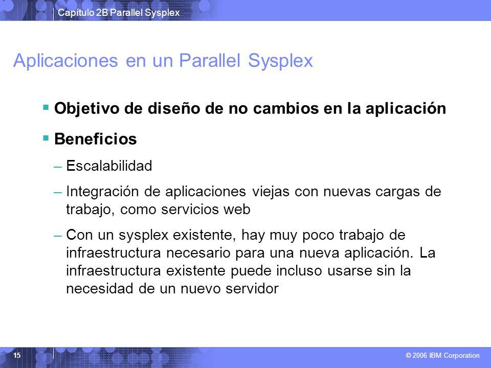 Capítulo 2B Parallel Sysplex © 2006 IBM Corporation 15 Aplicaciones en un Parallel Sysplex Objetivo de diseño de no cambios en la aplicación Beneficio