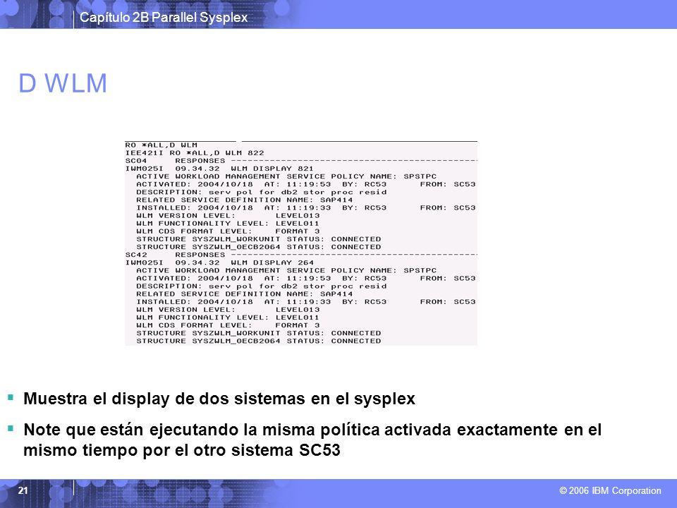 Capítulo 2B Parallel Sysplex © 2006 IBM Corporation 21 D WLM Muestra el display de dos sistemas en el sysplex Note que están ejecutando la misma política activada exactamente en el mismo tiempo por el otro sistema SC53