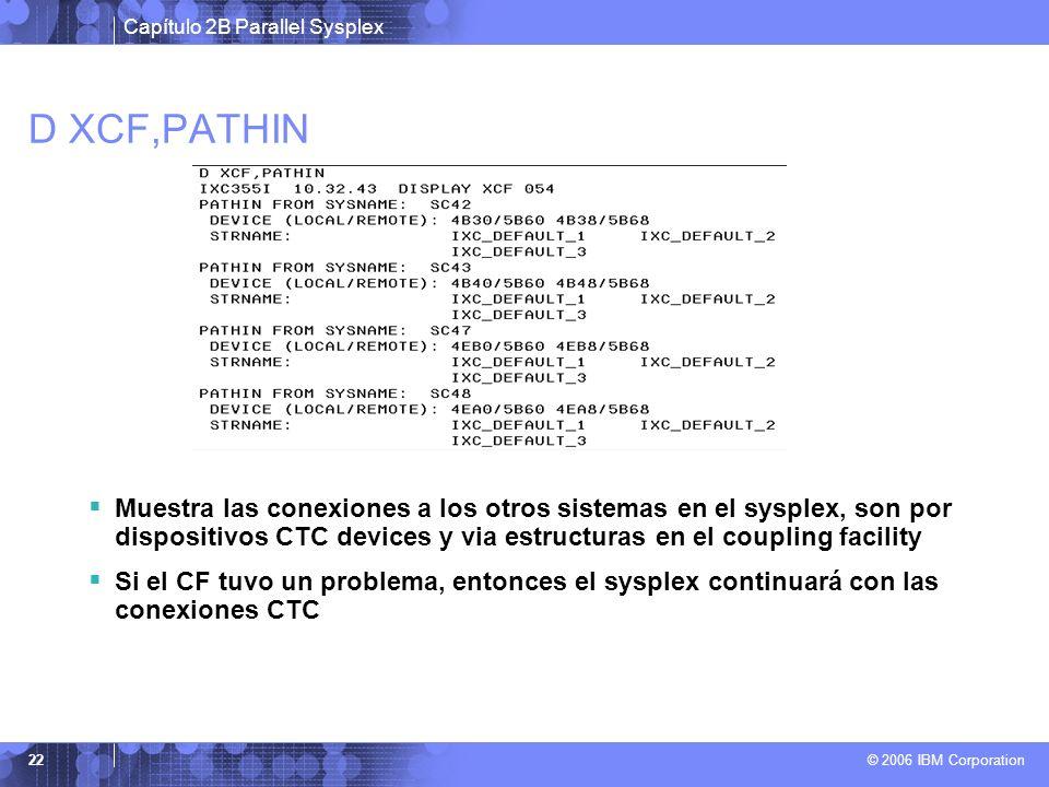 Capítulo 2B Parallel Sysplex © 2006 IBM Corporation 22 D XCF,PATHIN Muestra las conexiones a los otros sistemas en el sysplex, son por dispositivos CT