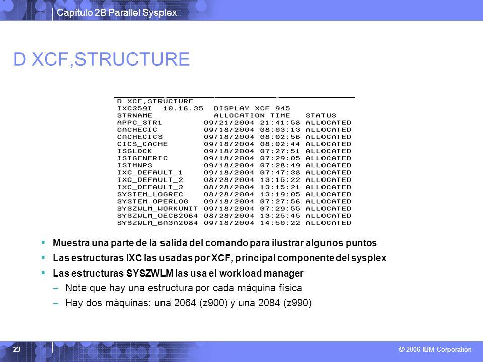 Capítulo 2B Parallel Sysplex © 2006 IBM Corporation 23 D XCF,STRUCTURE Muestra una parte de la salida del comando para ilustrar algunos puntos Las estructuras IXC las usadas por XCF, principal componente del sysplex Las estructuras SYSZWLM las usa el workload manager –Note que hay una estructura por cada máquina física –Hay dos máquinas: una 2064 (z900) y una 2084 (z990)