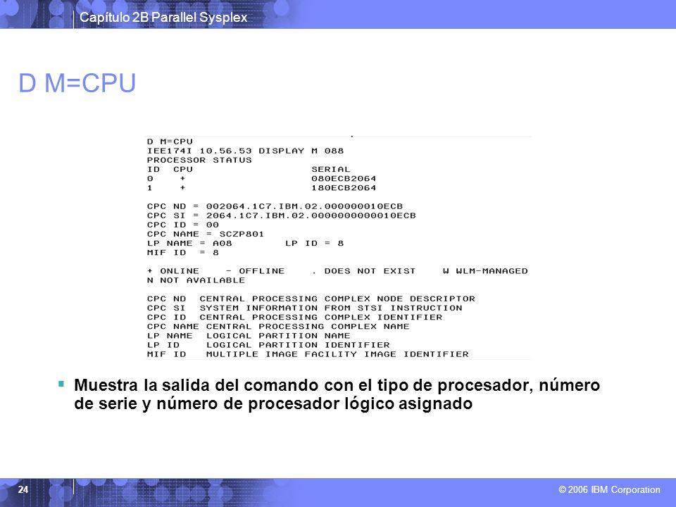 Capítulo 2B Parallel Sysplex © 2006 IBM Corporation 24 D M=CPU Muestra la salida del comando con el tipo de procesador, número de serie y número de pr