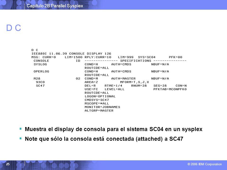 Capítulo 2B Parallel Sysplex © 2006 IBM Corporation 25 D C Muestra el display de consola para el sistema SC04 en un sysplex Note que sólo la consola está conectada (attached) a SC47