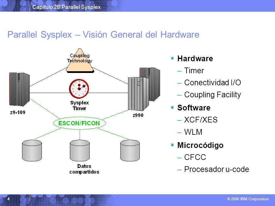 Capítulo 2B Parallel Sysplex © 2006 IBM Corporation 4 Parallel Sysplex – Visión General del Hardware Hardware –Timer –Conectividad I/O –Coupling Facility Software –XCF/XES –WLM Microcódigo –CFCC –Procesador u-code