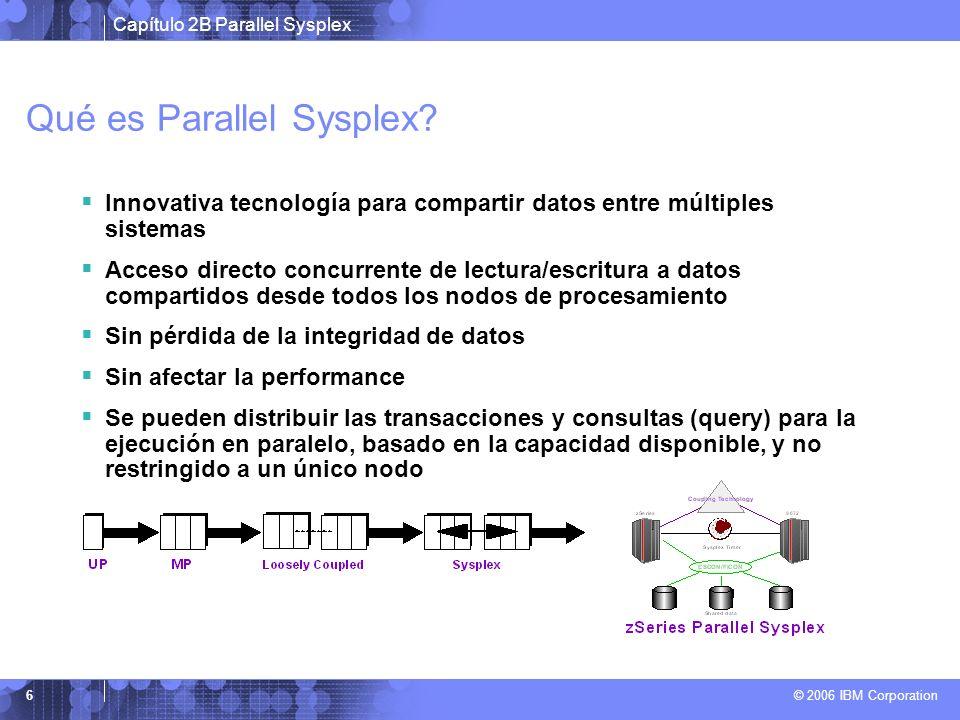 Capítulo 2B Parallel Sysplex © 2006 IBM Corporation 17 Resumen Costo reducido comparado a ofertas previas de similares funciones y performance Disponibilidad contínua aún durante cambios Agregados y cambios dinámicos Parallel sysplex se construye en la solidez de la plataforma z/OS para brindar la mayor disponibilidad, servicio y confiabilidad