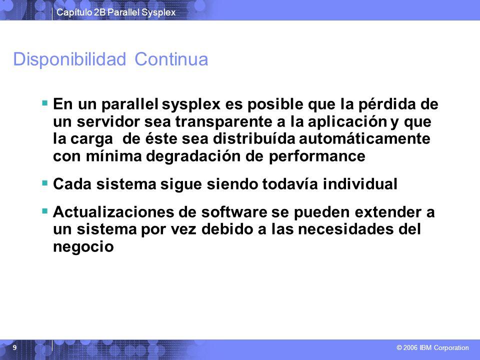 Capítulo 2B Parallel Sysplex © 2006 IBM Corporation 9 Disponibilidad Continua En un parallel sysplex es posible que la pérdida de un servidor sea transparente a la aplicación y que la carga de éste sea distribuída automáticamente con mínima degradación de performance Cada sistema sigue siendo todavía individual Actualizaciones de software se pueden extender a un sistema por vez debido a las necesidades del negocio