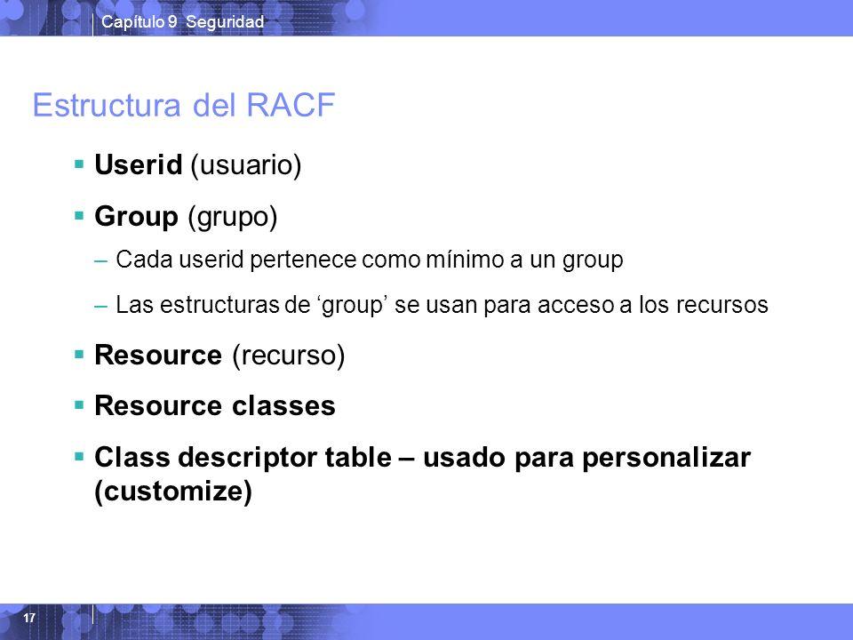 Capítulo 9 Seguridad 17 Estructura del RACF Userid (usuario) Group (grupo) –Cada userid pertenece como mínimo a un group –Las estructuras de group se