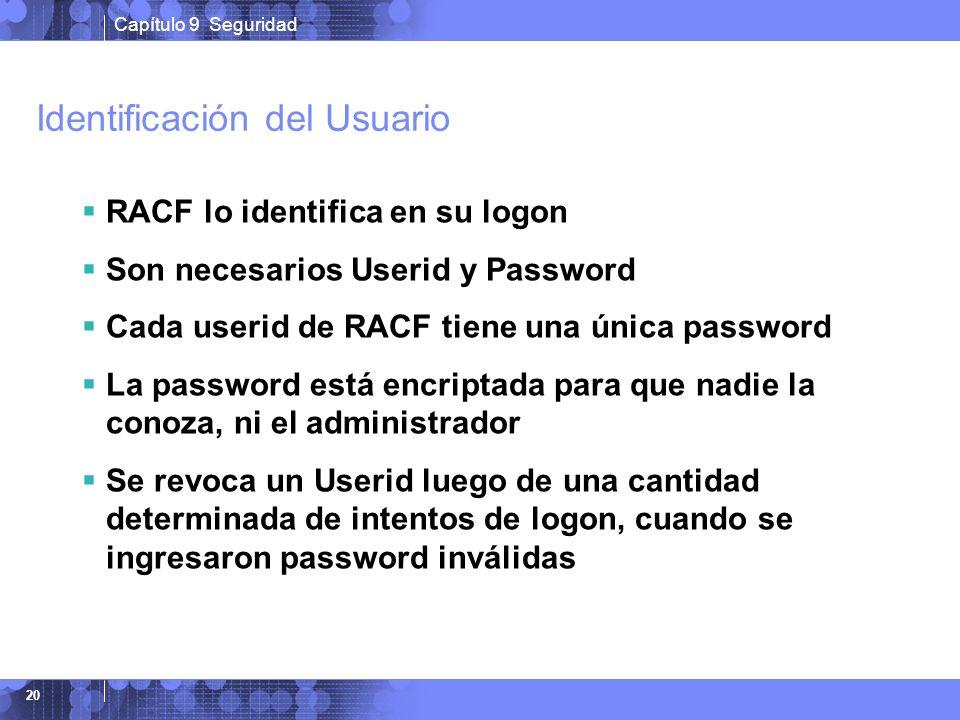 Capítulo 9 Seguridad 20 Identificación del Usuario RACF lo identifica en su logon Son necesarios Userid y Password Cada userid de RACF tiene una única