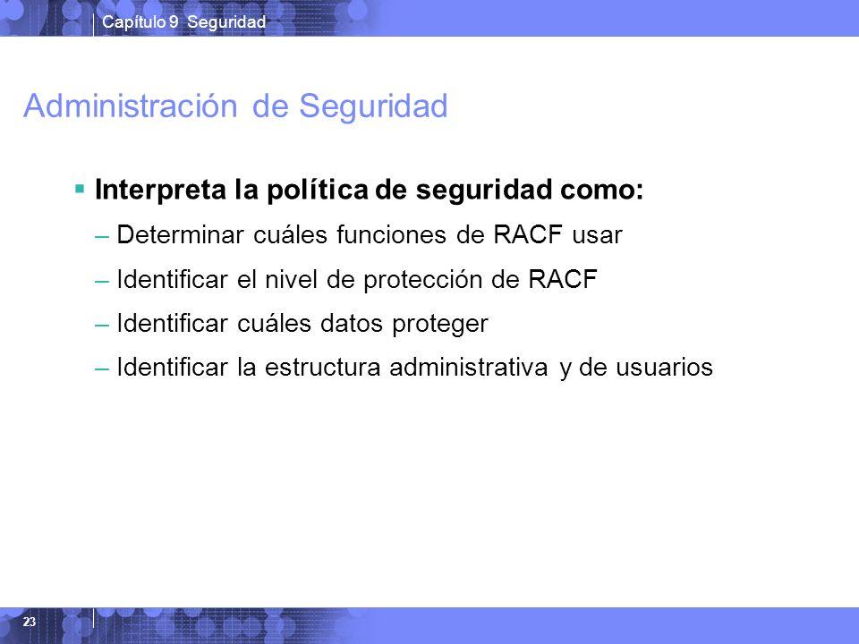 Capítulo 9 Seguridad 23 Administración de Seguridad Interpreta la política de seguridad como: –Determinar cuáles funciones de RACF usar –Identificar e