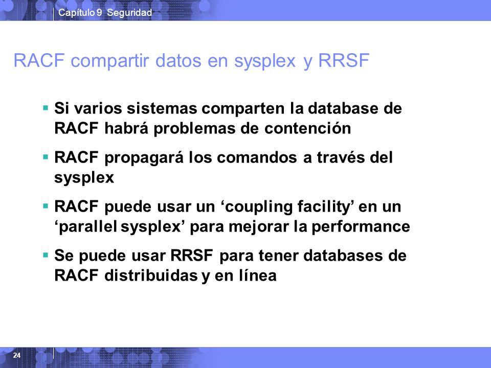 Capítulo 9 Seguridad 24 RACF compartir datos en sysplex y RRSF Si varios sistemas comparten la database de RACF habrá problemas de contención RACF pro