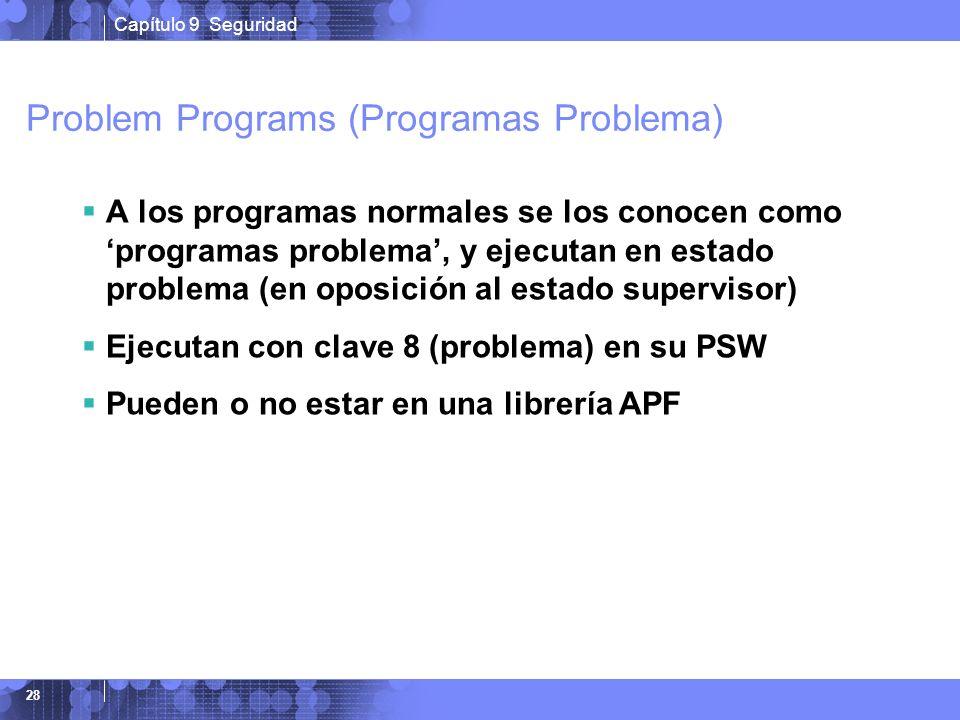 Capítulo 9 Seguridad 28 Problem Programs (Programas Problema) A los programas normales se los conocen como programas problema, y ejecutan en estado pr